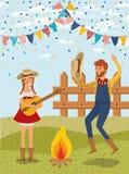 Os fazendeiros acoplam a comemoração com festões e cerca ilustração stock