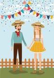 Os fazendeiros acoplam a comemoração com festões e cerca ilustração royalty free