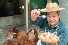Os fazendeiros asiáticos guardam uma cesta dos ovos com sua mão esquerda e seu ovo da terra arrendada do assistente e sustentação imagens de stock