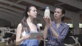 Os fazendeiros das moças que fazem uma excursão do celeiro com as vacas na exploração agrícola tomaram o teste do leite de vaca p filme