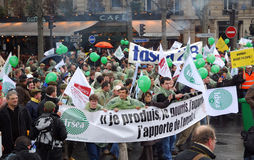Os fazendeiros franceses golpeiam em Paris Fotos de Stock