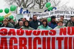 Os fazendeiros franceses golpeiam em Paris Foto de Stock