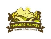 Os fazendeiros introduzem no mercado da exploração agrícola para apresentar o emblema ilustração stock