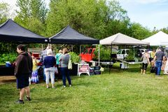 Os fazendeiros introduzem no mercado em Courtenay, Columbia Britânica Canadá Imagens de Stock Royalty Free