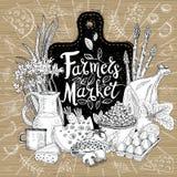 Os fazendeiros introduzem no mercado, projeto orgânico do logotipo, loja de alimento saudável Vegetais, frutos, carne, leite, ovo foto de stock royalty free