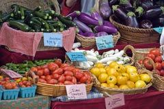 Os fazendeiros introduzem no mercado vegtables frescos Fotografia de Stock Royalty Free