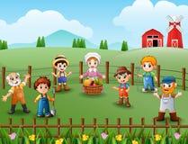 Os fazendeiros que falam sobre apreciado o trabalho na exploração agrícola ilustração royalty free