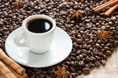 Os feijões de café Roasted com um copo em uns pires com um café bebem com canela e anis foto de stock