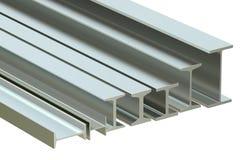 Os feixes estruturais, aço rolaram o H-feixe do metal rendição 3d Fotografia de Stock Royalty Free