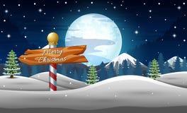 Os feriados de inverno ajardinam com sinal de madeira na noite ilustração stock