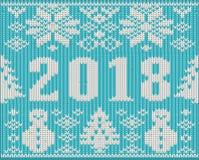 Os feriados do Feliz Natal fizeram malha 2018 anos novo, vetor Fotos de Stock Royalty Free