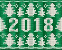 Os feriados do Feliz Natal fizeram malha o papel de parede, 2018 anos novo, n Foto de Stock Royalty Free