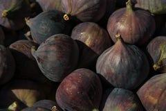Os figos nos fazendeiros introduzem no mercado, fecham-se acima imagens de stock royalty free