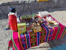 Os flamingos selvagens do Chile San Pedro Atacama Desert Salar de Tara visitam o café da manhã foto de stock royalty free
