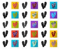 Os flip-flops enegrecem, ícones lisos na coleção do grupo para o projeto A praia calça a ilustração da Web do estoque do símbolo  ilustração royalty free