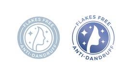 os flocos da Anti-caspa livram o ícone do logotipo para o projeto do óleo do champô ou de cabelo ilustração royalty free