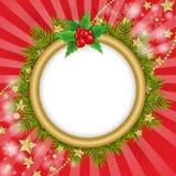 Os flocos de neve dourados sobre o Natal ramificam fundo Fotografia de Stock Royalty Free
