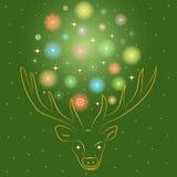 Os flocos de neve Shinning coloridos arranjaram em uma forma de um círculo entre chifres do ` s dos cervos Silhueta dourada tirad ilustração royalty free