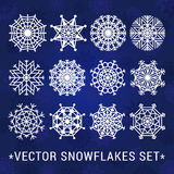 Os flocos de neve vector o grupo (branco) ilustração stock