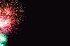 Os fogos-de-artifício abstraem no fundo escuro Foto de Stock Royalty Free