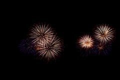 Os fogos-de-artifício abstratos iluminam acima o céu escuro Foto de Stock Royalty Free