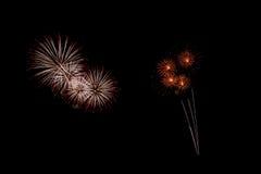 Os fogos-de-artifício abstratos iluminam acima o céu escuro Imagem de Stock Royalty Free