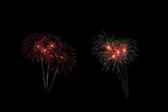 Os fogos-de-artifício abstratos iluminam acima o céu escuro Fotos de Stock Royalty Free