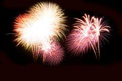 Os fogos-de-artifício abstratos iluminam-se acima no céu na noite Fotos de Stock