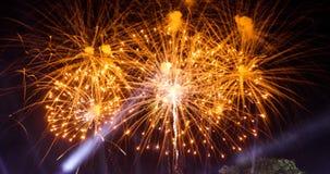 Os fogos-de-artifício coloridos da celebração do ano novo iluminam acima o céu com a Dinamarca Fotos de Stock