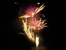 Os fogos-de-artifício coloridos de várias cores iluminam acima o céu noturno Foto de Stock