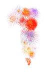 os fogos-de-artifício coloridos numeram 1 para 2017 - firew colorido bonito Imagens de Stock