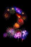 os fogos-de-artifício coloridos numeram 2 para 2017 - fogo colorido bonito Fotografia de Stock