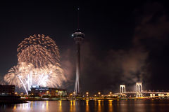 Os fogos-de-artifício de Macau Int'l indicam a competição Imagens de Stock Royalty Free