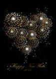 Os fogos-de-artifício do ano novo feliz 2014 amam o fundo do coração Imagem de Stock Royalty Free