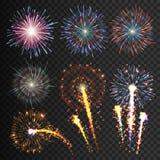 Os fogos-de-artifício festivos da coleção de várias cores arranjaram em um fundo preto Manifestações isoladas transparentes à pas ilustração stock