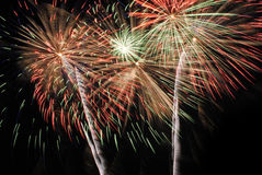 Os fogos-de-artifício iluminam acima o céu Foto de Stock Royalty Free