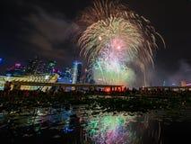 Os fogos-de-artifício indicam durante a estreia 2014 da parada do dia nacional (NDP) o 2 de agosto de 2014 Fotografia de Stock