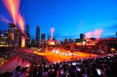 Os fogos-de-artifício indicam durante NDP 2010 Fotografia de Stock Royalty Free