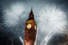 os fogos-de-artifício indicam em torno de Big Ben Fotografia de Stock