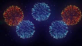 Os fogos-de-artifício indicam no fundo mágico do céu ilustração royalty free