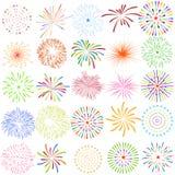 Os fogos-de-artifício indicam para ano novo e toda a ilustração do vetor da celebração Foto de Stock Royalty Free