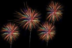 Os fogos-de-artifício sobre a cidade comemoram no festival feliz Foto de Stock Royalty Free