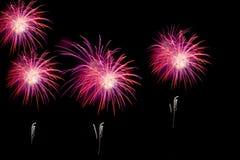Os fogos-de-artifício sobre a cidade comemoram no festival feliz Imagem de Stock