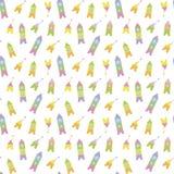 Os foguetes e os satélites de espaço coloridos dos cubos brilhantes alegres brincalhão do ` s das crianças em uma luz branca do f ilustração royalty free