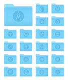 OS X Folders with Art and Design Icons. Set of 20 Folders Icons in OS X Yosemite Style with Art and Design Circle Pictograms stock illustration