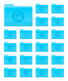 OS X Folders with Multimedia Icons. Set of 20 Folders Icons in OS X Yosemite Style with Circle Multimedia Pictograms Stock Illustration