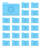 OS X Folders with Security Icons. Set of 20 Folders Icons in OS X Yosemite Style with Circle Security Pictograms vector illustration