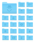 OS X Folders with Security Icons. Set of 20 Folders Icons in OS X Yosemite Style with Security Pictograms royalty free illustration