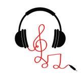 Os fones de ouvido com clave de sol, notam o cabo vermelho Cartão da música Ícone liso do projeto Fundo branco isolado Imagens de Stock Royalty Free