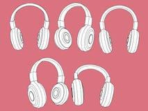 Os fones de ouvido vector ilustração ajustada Fotografia de Stock